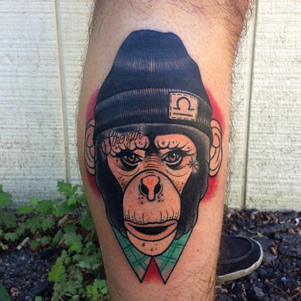 Arm New School Affe Hut Tattoo von Mike Stocklings