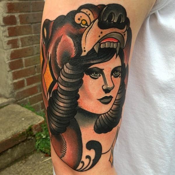 Arm New School Women Bear Tattoo by Mike Stocklings