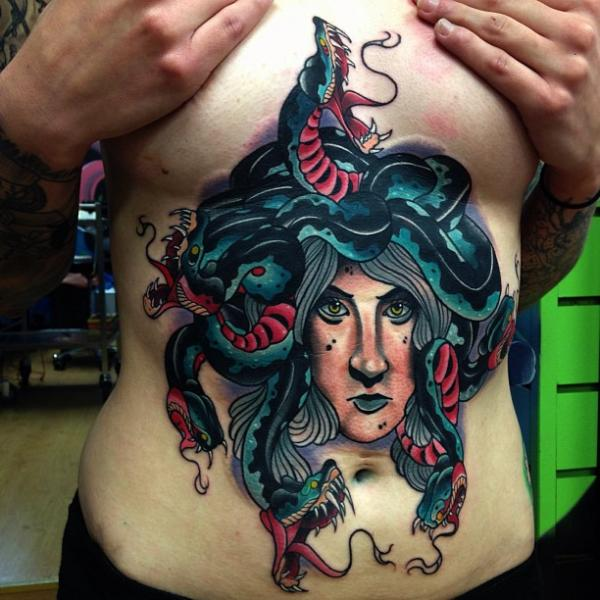 New School Snake Belly Mermaid Tattoo by Mike Stocklings