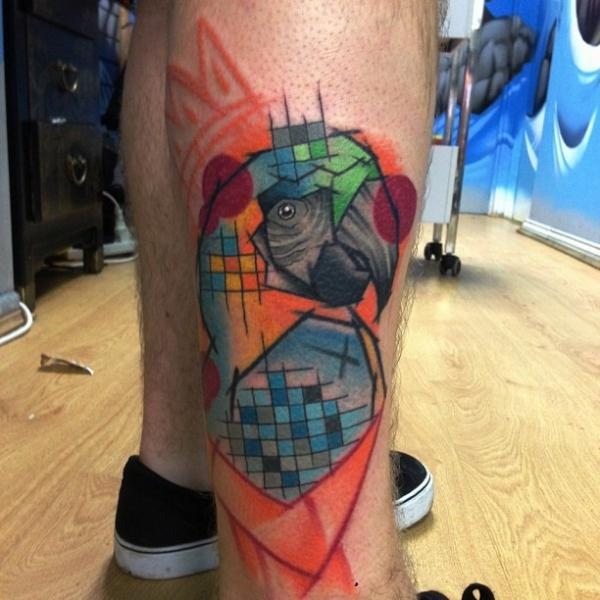 Fantasy Calf Parrot Tattoo by Mike Stocklings