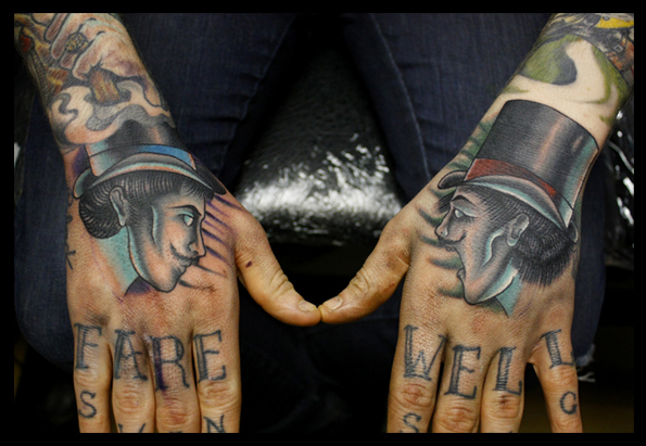 New School Hand Men Hat Tattoo by Mike Stocklings