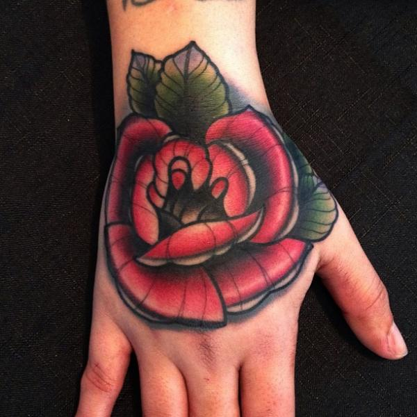 Old School Flower Hand Rose Tattoo by Mike Stocklings