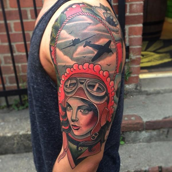 Shoulder Old School Aviator Tattoo by Mike Stocklings