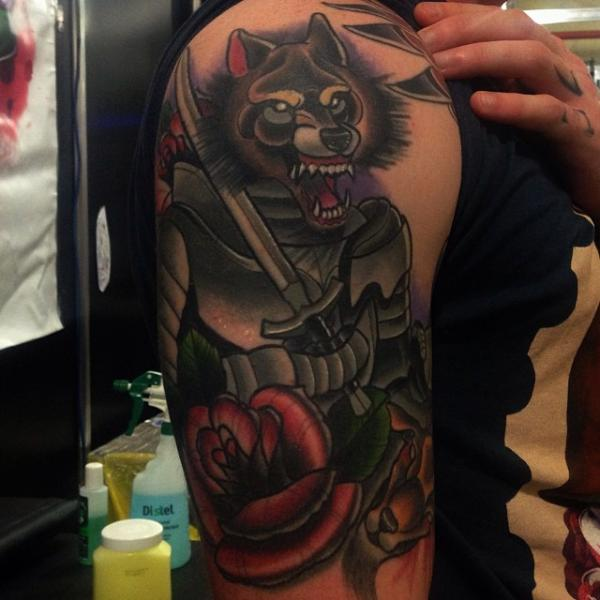 Shoulder Fantasy Old School Flower Fox Tattoo by Mike Stocklings