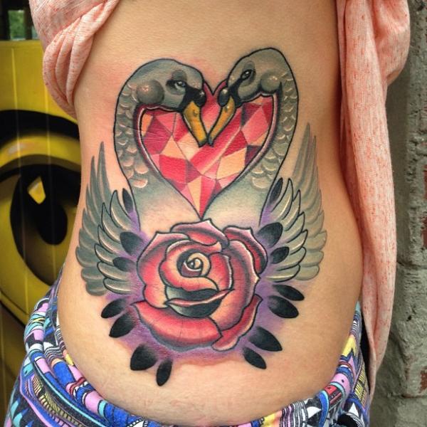 New School Heart Flower Side Diamond Swan Tattoo by Mike Stocklings