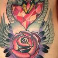 New School Heart Flower Side Diamond Swan tattoo by Mike Stocklings