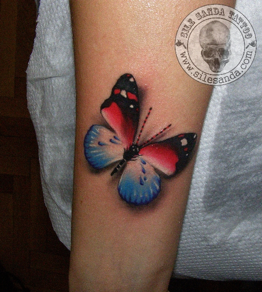 Arm Realistic Butterfly 3d Tattoo by Sile Sanda