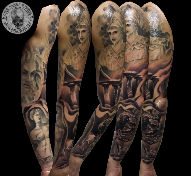 Realistic Statue Sleeve Tattoo by Sile Sanda