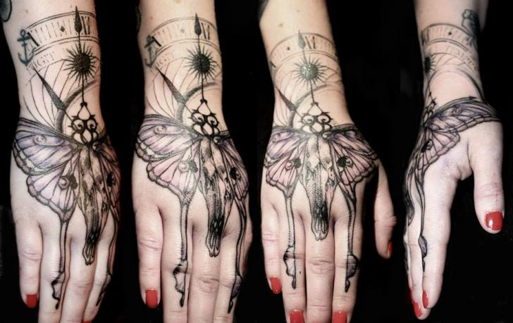 Skull Hand Dotwork Moth Tattoo by The Lace Makers Sweat Shop