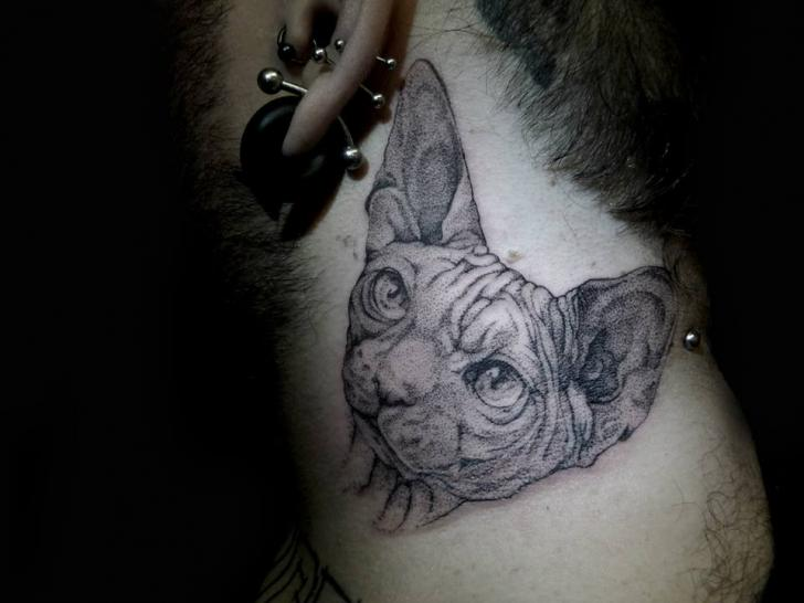 Neck Cat Dotwork Tattoo by The Lace Makers Sweat Shop