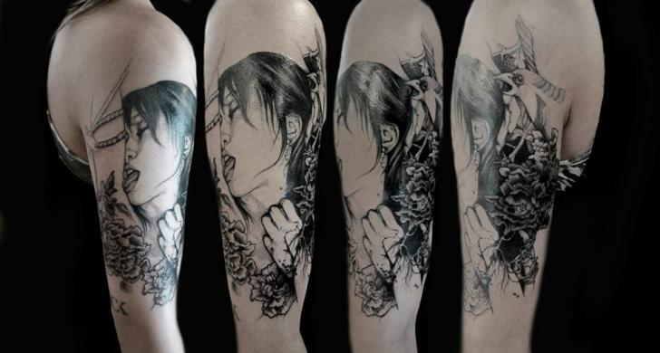 Shoulder Portrait Geisha Tattoo by The Lace Makers Sweat Shop
