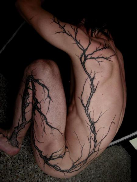 Leg Side Tree Tattoo by The Lace Makers Sweat Shop