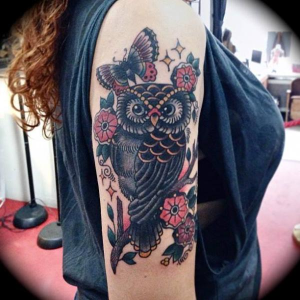 Arm Old School Owl Tattoo by Sailor Serpent