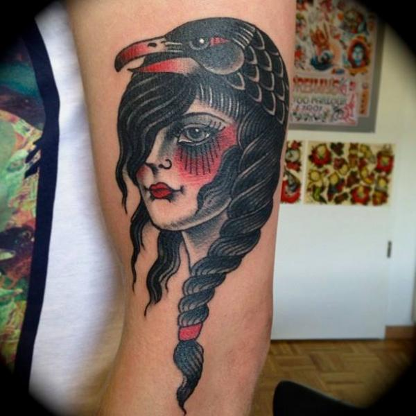 Arm Old School Women Crow Tattoo by Sailor Serpent