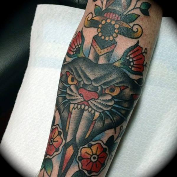 Arm Old School Dagger Panther Tattoo by Sailor Serpent
