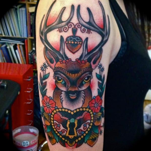 Shoulder Old School Lock Deer Tattoo by Sailor Serpent