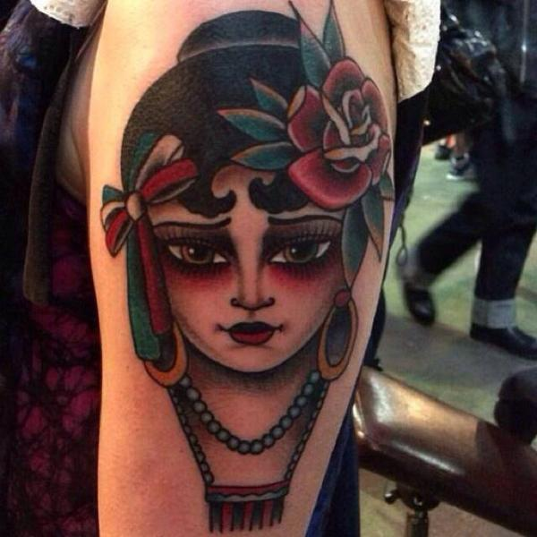 Shoulder Old School Gypsy Tattoo by Sailor Serpent