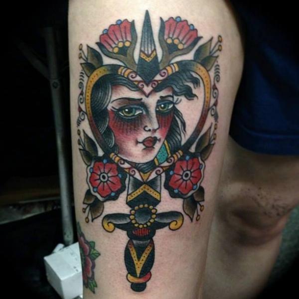 Old School Gypsy Dagger Thigh Tattoo by Sailor Serpent
