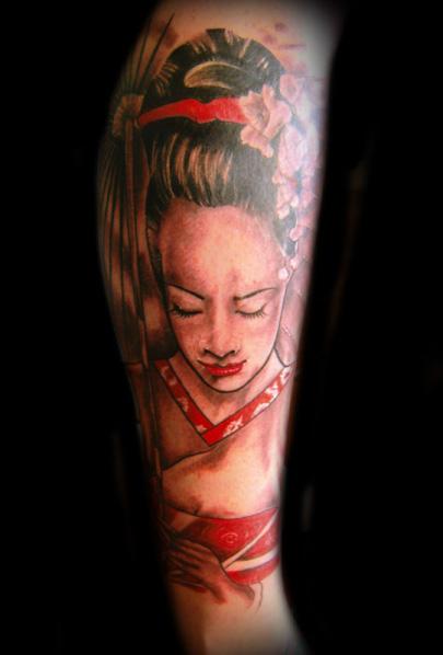 Arm Japanische Geisha Tattoo von Zulu Tattoo Dublin