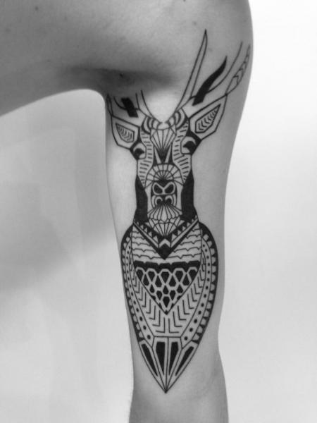 Arm Tribal Deer Tattoo by 2 Spirit Tattoo