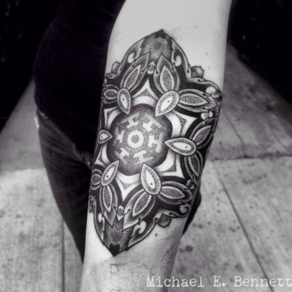Arm Dotwork Geometric Tattoo by 2 Spirit Tattoo