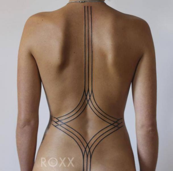 Back Geometric Line Tattoo by 2 Spirit Tattoo