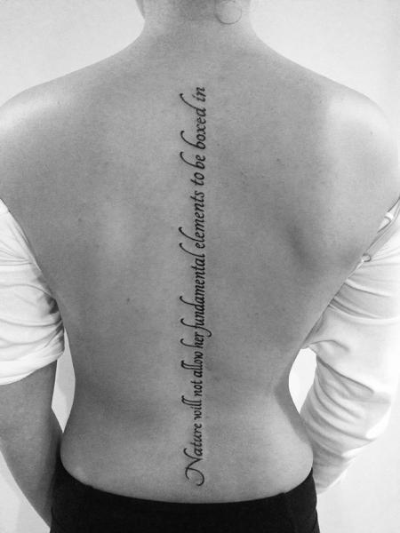 Lettering Back Tattoo By 2 Spirit Tattoo