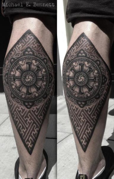 Calf Dotwork Tattoo by 2 Spirit Tattoo