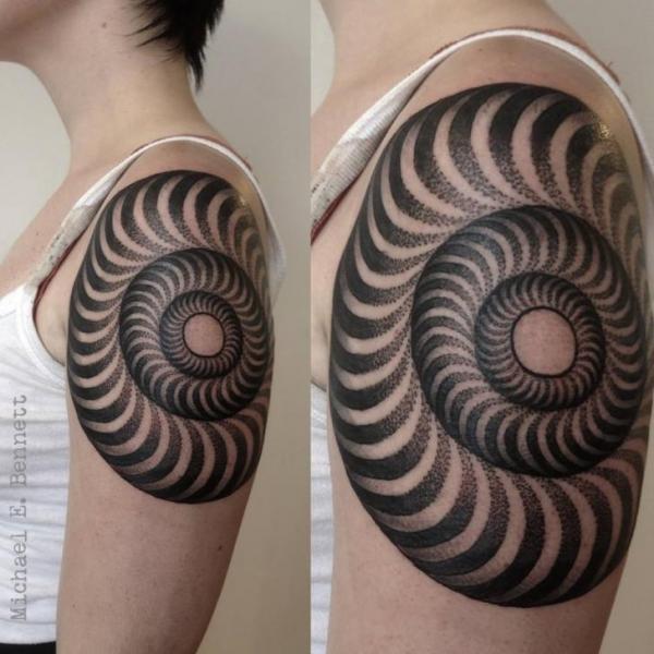 Shoulder Dotwork Tattoo by 2 Spirit Tattoo