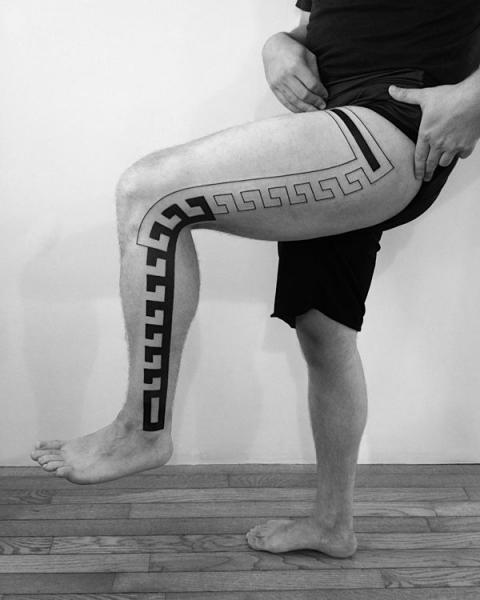 Leg Tribal Geometric Tattoo by 2 Spirit Tattoo