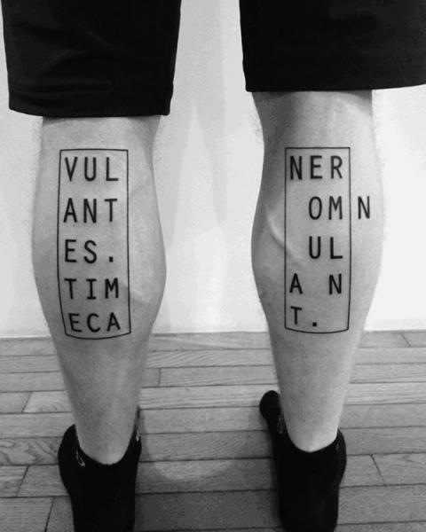 Calf Lettering Tattoo by 2 Spirit Tattoo