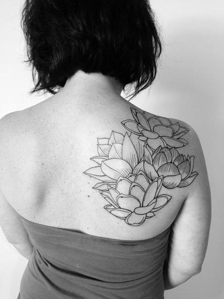 Shoulder Flower Tattoo by 2 Spirit Tattoo