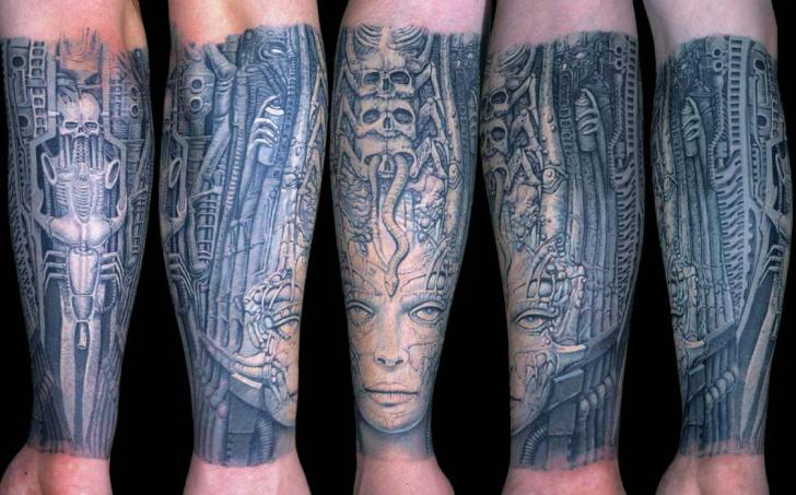 Arm Biomechanical Giger Tattoo by Anil Gupta