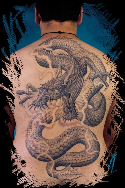 Fantasy Back Dragon Tattoo by Anil Gupta
