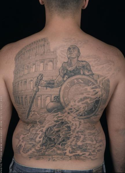 Realistic Back Warrior Tattoo by Anil Gupta