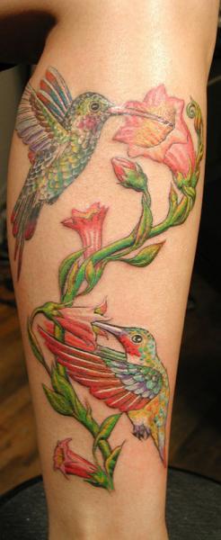 Realistic Leg Flower Hummingbird Tattoo by Anil Gupta