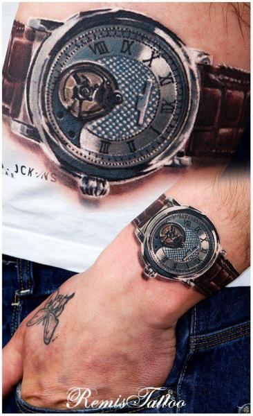 Arm Realistic Clock Tattoo by Remis Tatooo