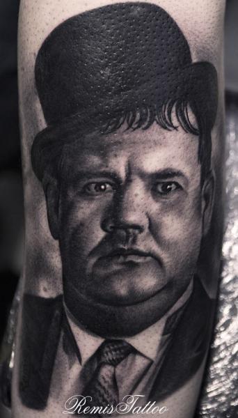 Arm Portrait Realistic Oliver Hardy Tattoo by Remis Tatooo