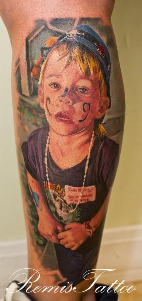 Portrait Realistic Calf Children Tattoo by Remis Tatooo