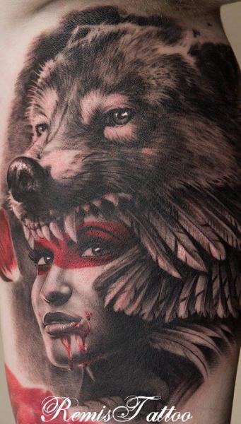 Fantasy Women Wolf Tattoo by Remis Tatooo