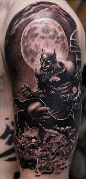 Shoulder Fantasy Batman Tattoo by Remis Tatooo