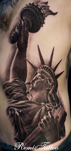 Realistic Side Statue Liberty Tattoo by Remis Tatooo