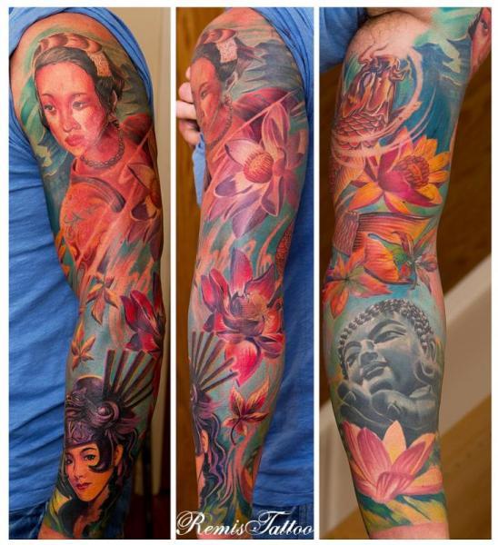 Tatuaje Flor Japoneses Buda Geisha Manga por Remis Tatooo