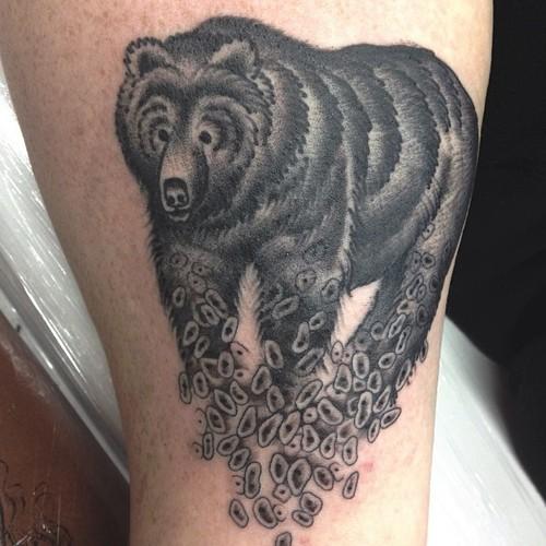 Calf Bear Tattoo by Sarah Carter