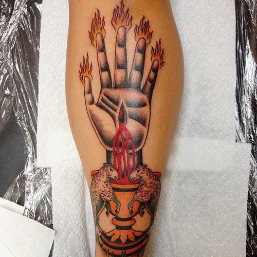 Calf Hand Flame Sheep Tattoo by Sarah Carter