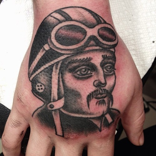 Old School Hand Aviator Tattoo by Sarah Carter