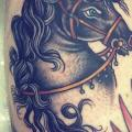Old School Leg Horse tattoo by Sarah Carter