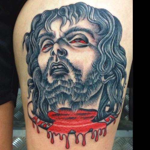 Leg Jesus Religious Blood Tattoo by Sarah Carter