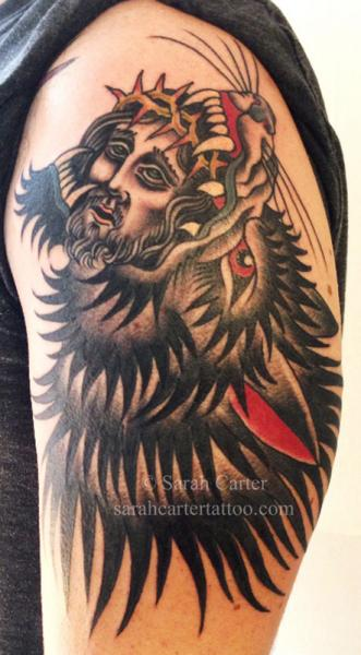 Shoulder Old School Wolf Tattoo by Sarah Carter