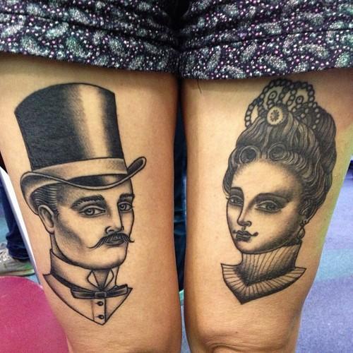 Women Thigh Men Tattoo by Sarah Carter
